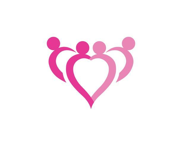 älska familjeomsorgen logotyp och symboler mall vektor