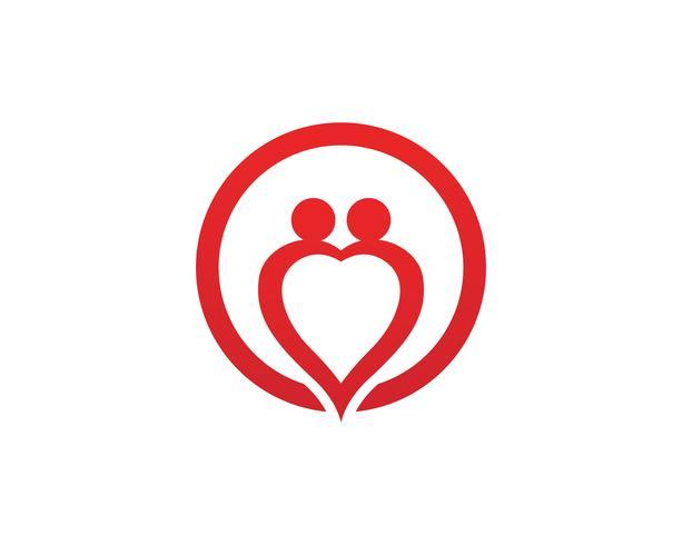 Liebe Familie Pflege Logo und Symbole Vorlage vektor