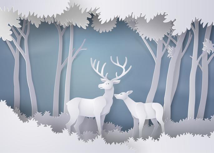 Hirsche im Wald. vektor