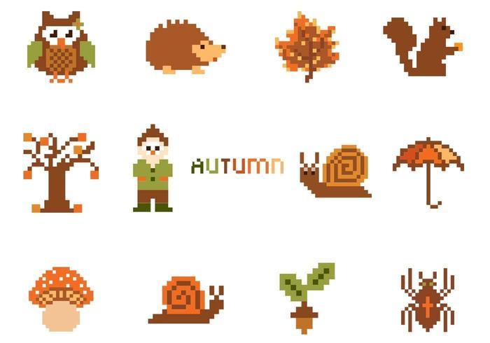 Pixel-Herbst-Vektorelement-Satz vektor