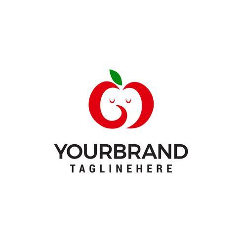 Apfelfrucht niedlich Logo Design Konzept Vorlage Vektor