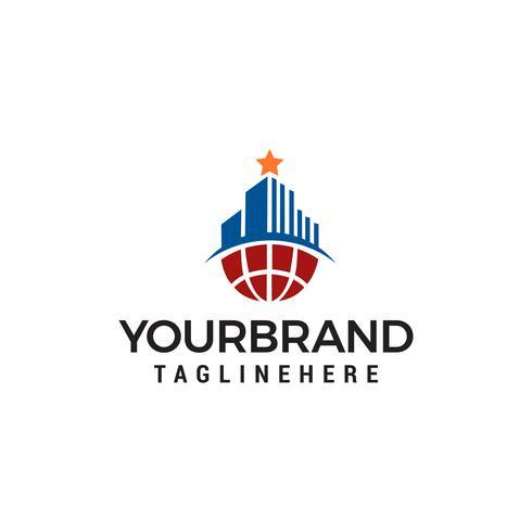 Gebäude mit Stern auf Top-Logo-Design-Konzept Vorlage Vektor