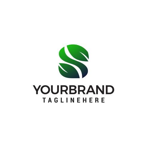 Buchstabe s Blatt Logo Design Konzept Vorlage Vektor