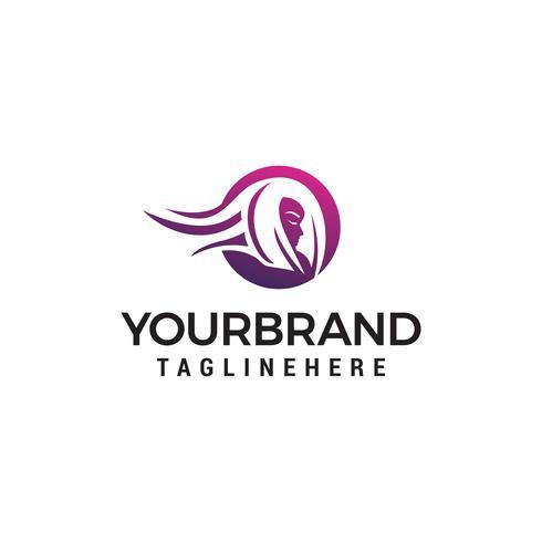 huvud kvinna logo design koncept mall vektor
