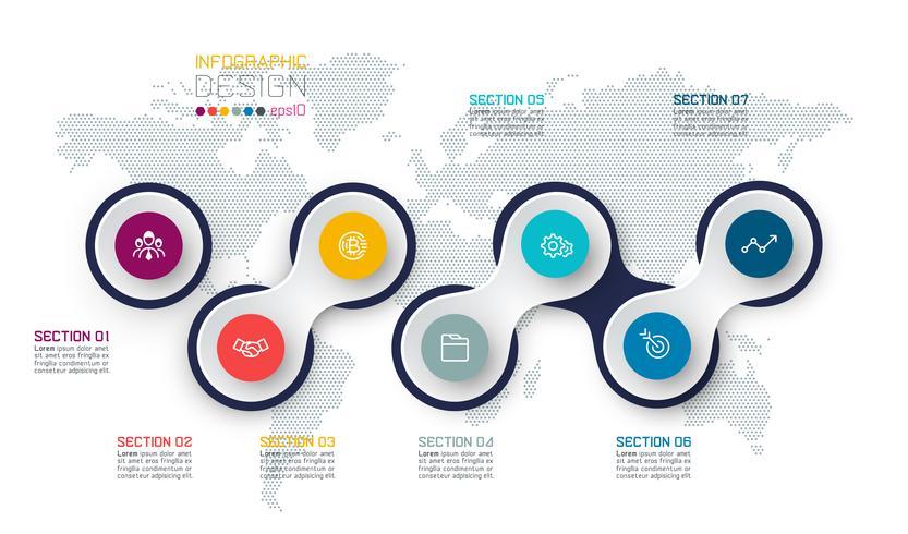 Cirkel länkad med företagsymbol infographics på världskartan bakgrund. vektor