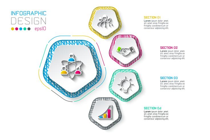 Pentagons etikett infographic med 5 steg. vektor