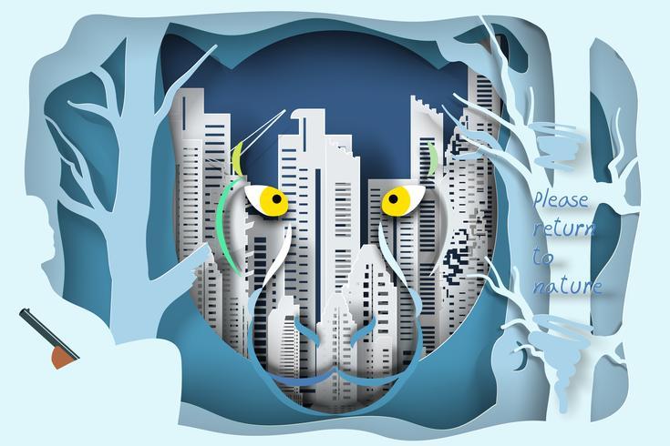 Djurliv och skog på stadsbakgrunden, vänligen återvänd till skogskonceptet. vektor