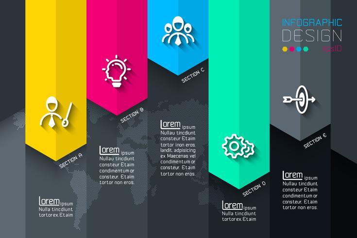 Fem etiketter med företagsikoninfographics. vektor