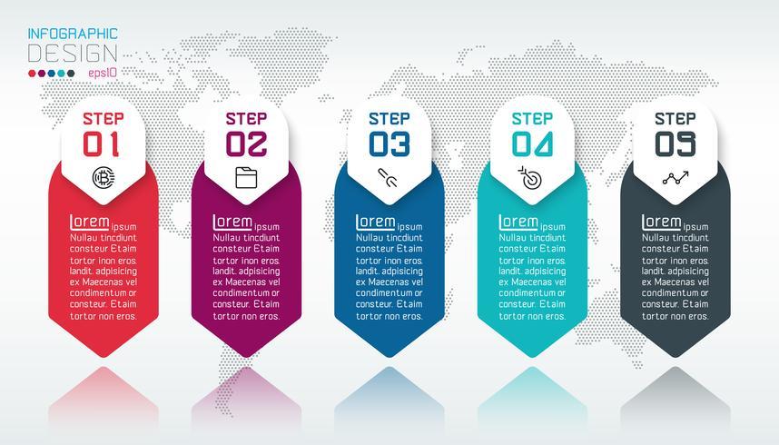 Business infographic med 5 steg. vektor