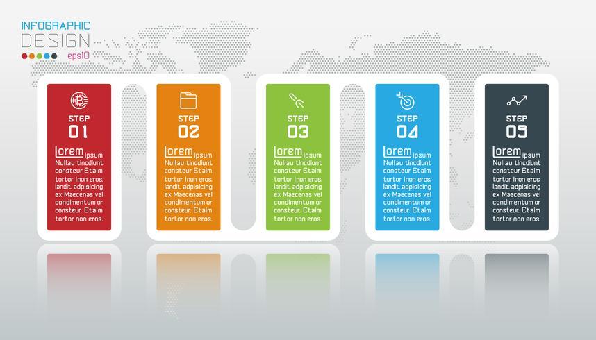 Business-Infografik mit 5 Schritten. vektor