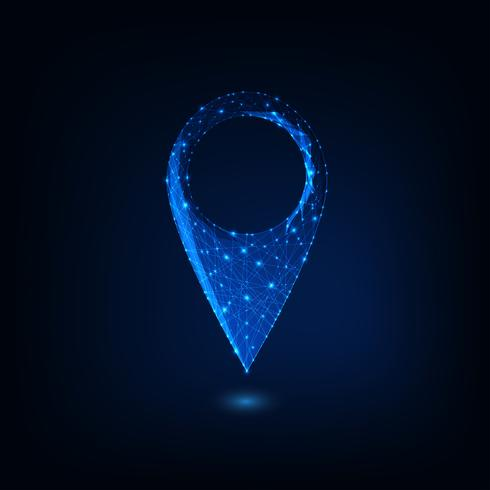 Futuristisk glödande låg polygonal GPS symbol isolerad på mörkblå bakgrund. vektor
