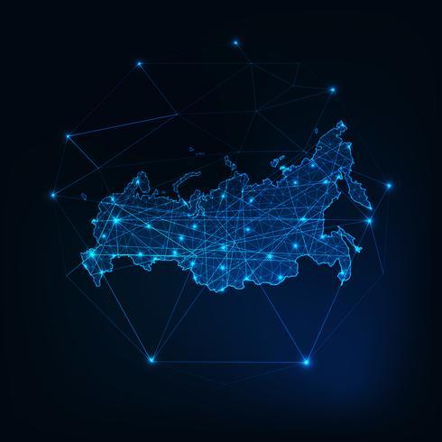 Russland leuchtende Netzwerkkarte Umriss. Kommunikation, Anschlusskonzept. vektor