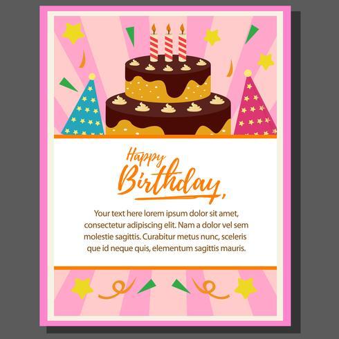 Grattis på födelsedagen temaaffisch med tårta torn i platt stil vektor