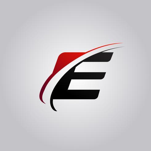 E Letter Logo mit rot und schwarz gefärbtem Swoosh vektor
