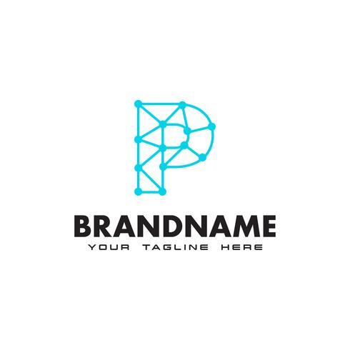 Letter P dot nätverksanslutning logotyp Design Mall vektor