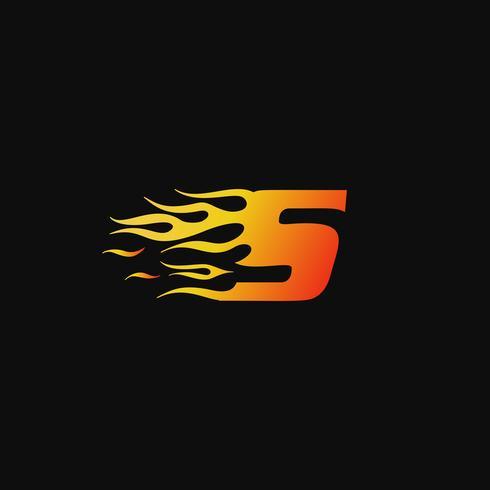 brev S Bränn flammlogo design mall vektor