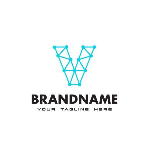 Letter V dot nätverksanslutning logotyp Design Mall vektor