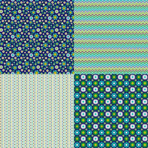 sömlösa blom- och polka dotmönster vektor