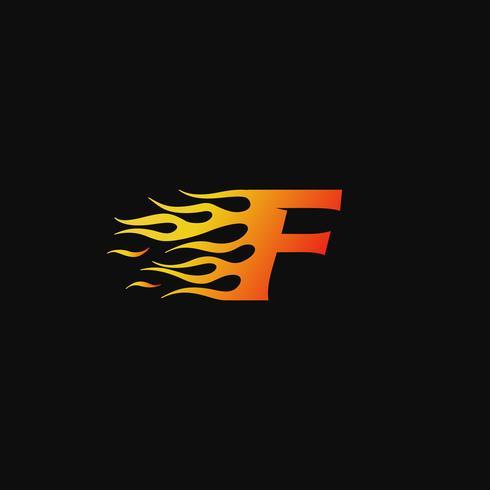 brev F Burning flame logo design mall vektor