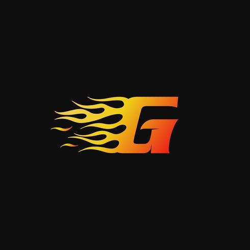 Buchstabe G brennende Flamme Logo Entwurfsvorlage vektor
