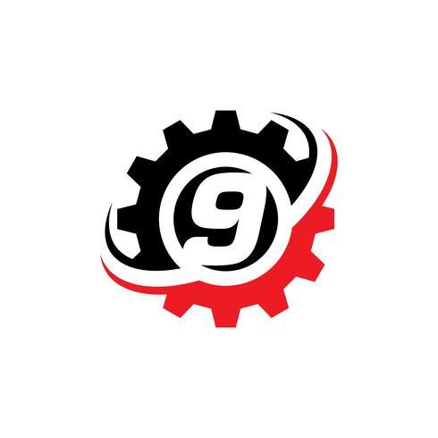 Nummer 9 Gear Logo Design-Vorlage vektor