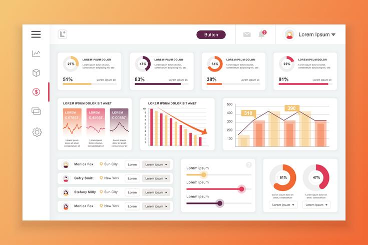 Dashboard admin panel vektor design mall med infographic element, diagram, diagram, info grafik. Webbsida dashboard för ui och ux design webbsida. Vektor illustration.