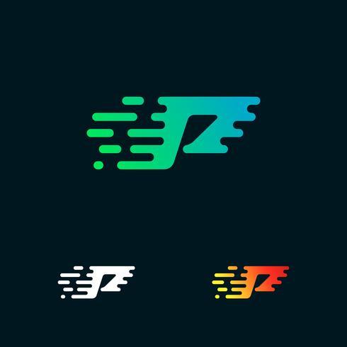 brev P modern hastighet former logo design vektor