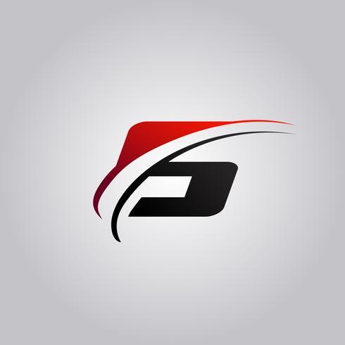Anfangsbuchstabe S Logo mit rot und schwarz gefärbtem Swoosh vektor