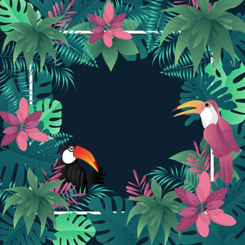 Tropisches Fahnenpalmblattvogel-Vektorbild des Sommers. vektor