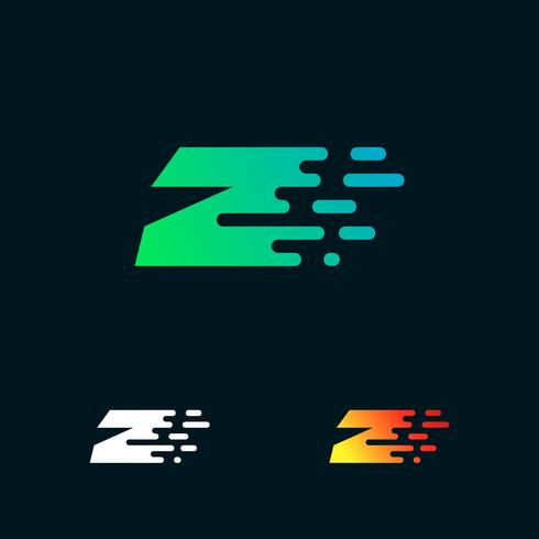 bokstav Z modern hastighet former logo design vektor