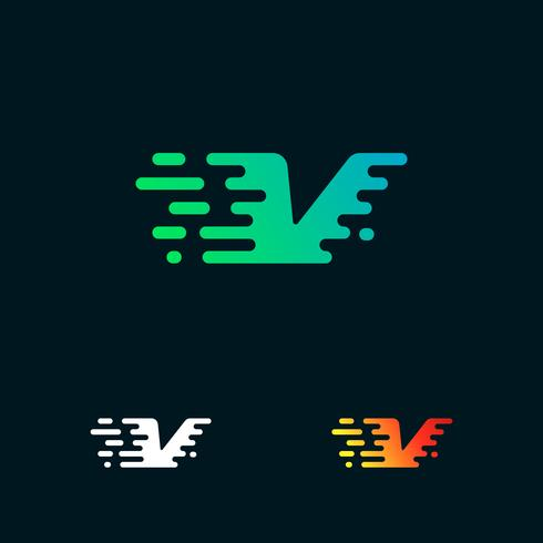 brev V moderna hastighetsformer logo design vektor