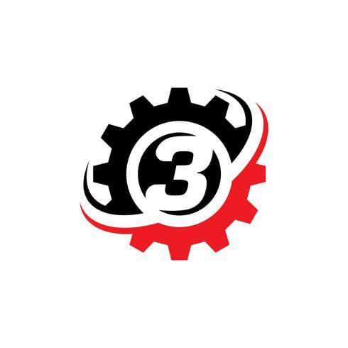 Nummer 3 Gear Logo Design-Vorlage vektor