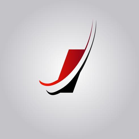 Initiale I Letter Logo mit rot und schwarz gefärbtem Swoosh vektor