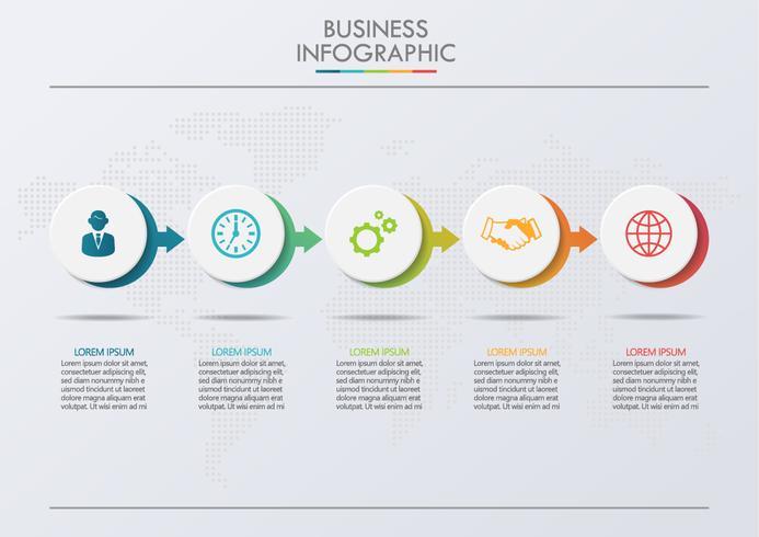 Visualisierung von Geschäftsdaten. Infographik Timeline-Symbole vektor
