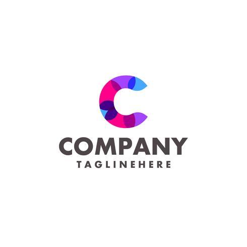 abstrakt färgstark bokstav C-logotyp för företag med modern neonfärg vektor