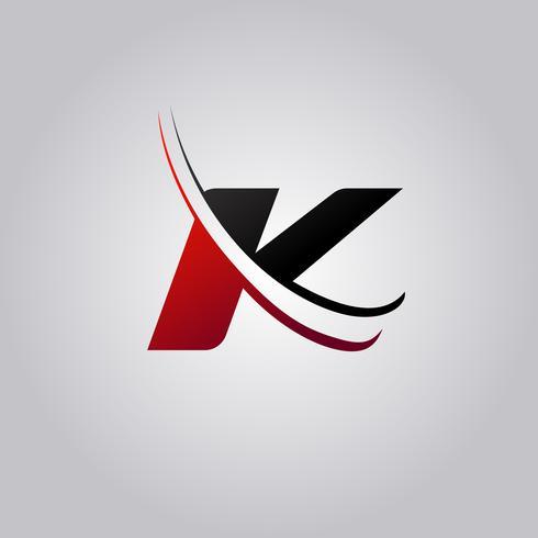K Letter Logo mit rot und schwarz gefärbtem Swoosh vektor