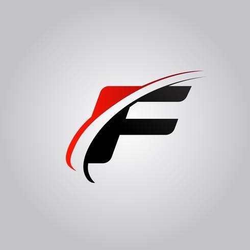 Initiales F Letter-Logo mit rot und schwarz gefärbtem Swoosh vektor