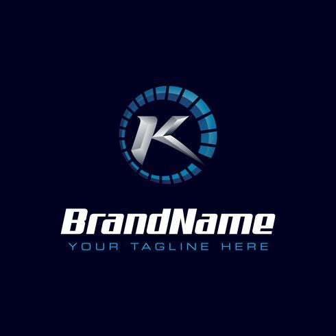 Letter K Speedometer logo. Tachometer hastighet logotyp vektor