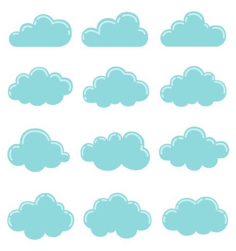 Moln ikon, vektor illustration, moln former samling