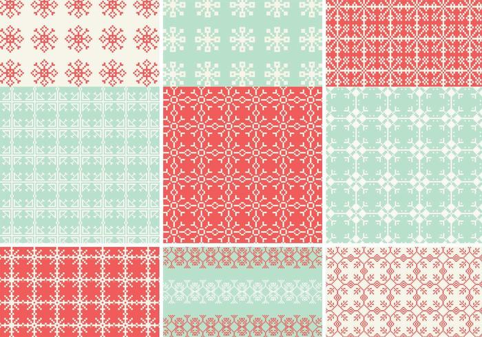 pixelated snowflake vektor mönstret pack