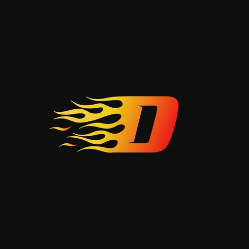 Buchstabe D brennende Flamme Logo Entwurfsvorlage vektor