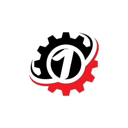Nummer 1 Gear Logo Design-Vorlage vektor