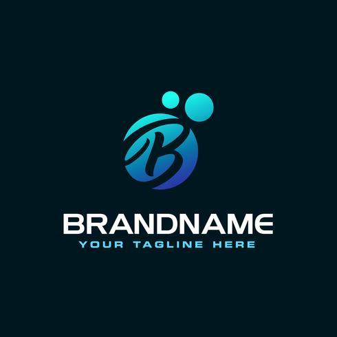 Dots Letter B Logo. B Brev Design Vector med prickar.