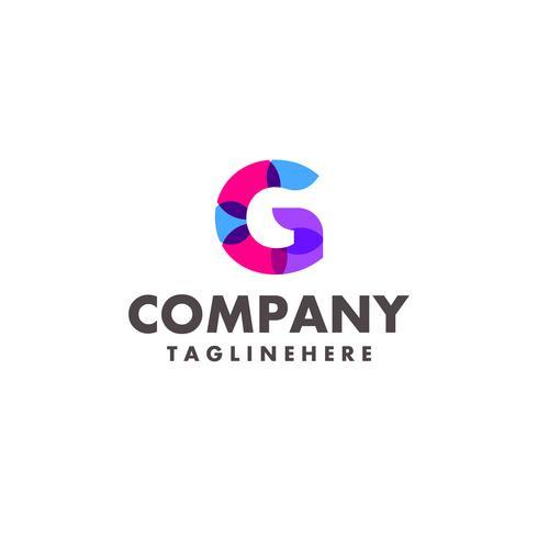 abstrakt färgstark bokstav G-logotyp för företag med modern neonfärg vektor