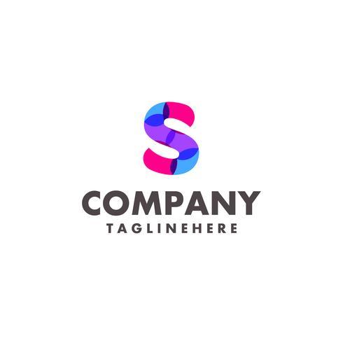 abstrakter bunter Buchstabe S Logoentwurf für Geschäftsfirma mit moderner Neonfarbe vektor