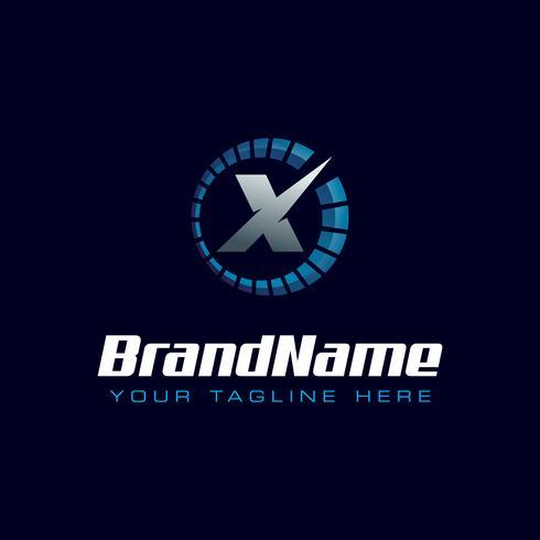 Brev X Speedometer-logotyp. Tachometer hastighet logotyp vektor