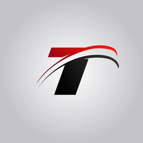 T Letter Logo mit rot und schwarz gefärbtem Swoosh vektor