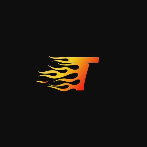 brev T Burning flame logo design mall vektor