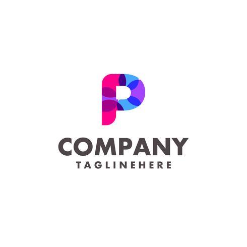 abstrakter bunter Buchstabe P Logoentwurf für Geschäftsfirma mit moderner Neonfarbe vektor