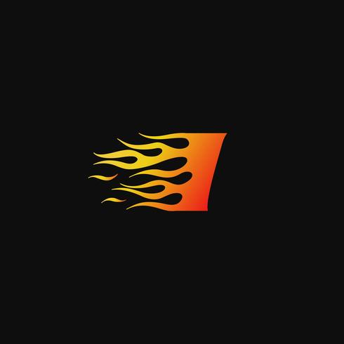 Buchstabe I brennende Flamme Logo Entwurfsvorlage vektor